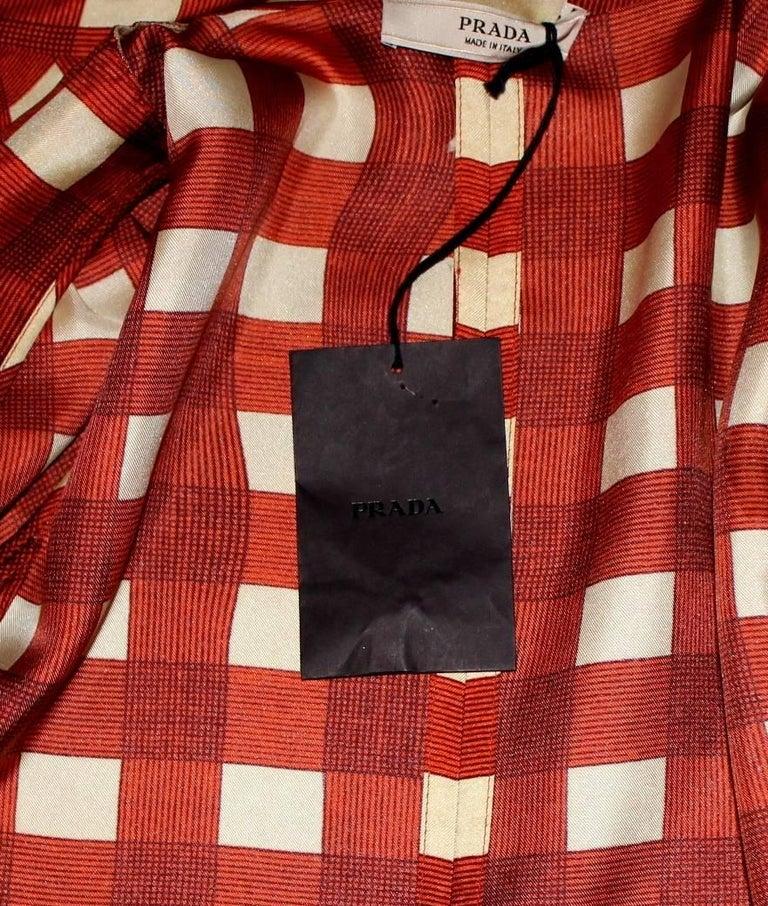 Prada Ruched Fairytale Silk Dress Geometric Print  For Sale 2