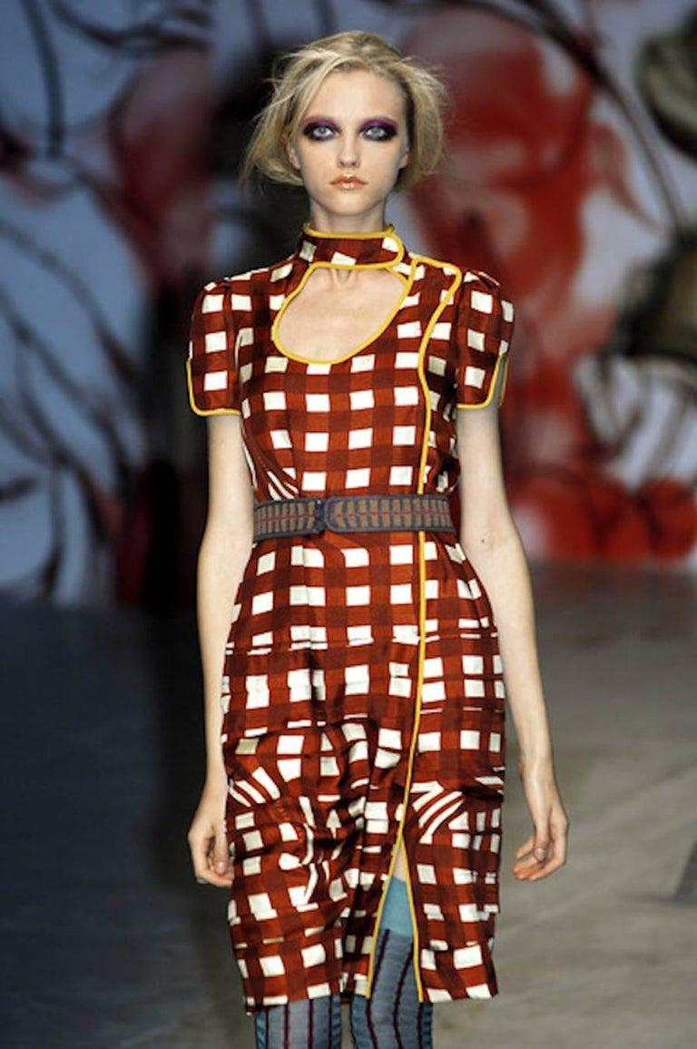 Prada Ruched Fairytale Silk Dress Geometric Print  For Sale 5