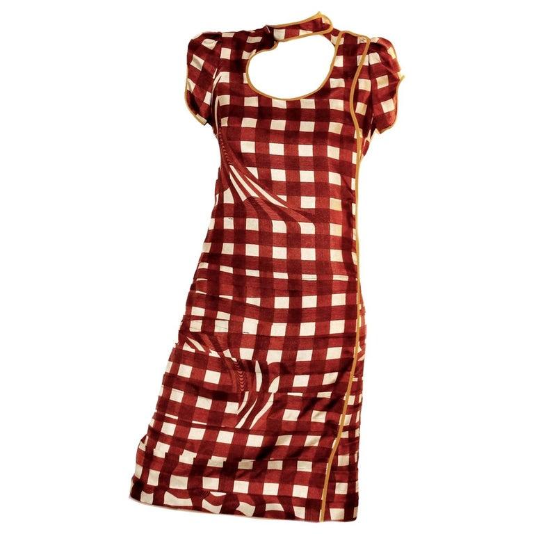 Prada Ruched Fairytale Silk Dress Geometric Print  For Sale