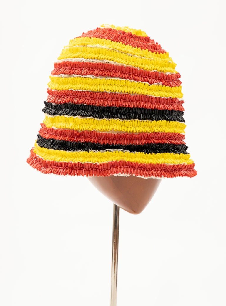 Orange Prada Runway Bead Embroidered Cloche Hat, Spring 2005 For Sale