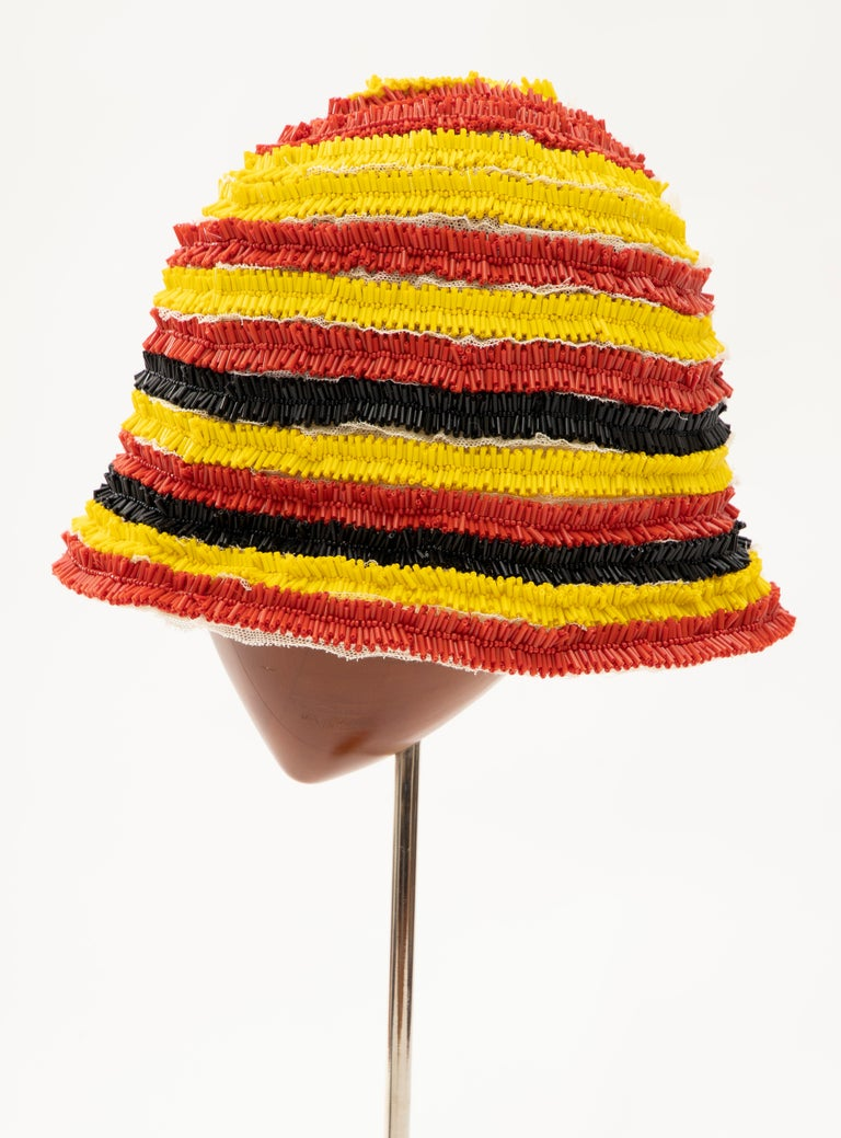Prada Runway Bead Embroidered Cloche Hat, Spring 2005 For Sale 1