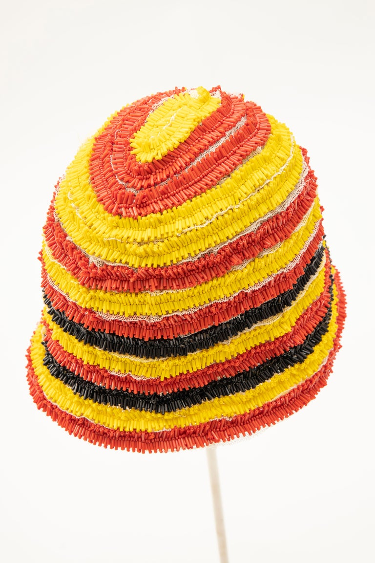 Prada Runway Bead Embroidered Cloche Hat, Spring 2005 For Sale 3