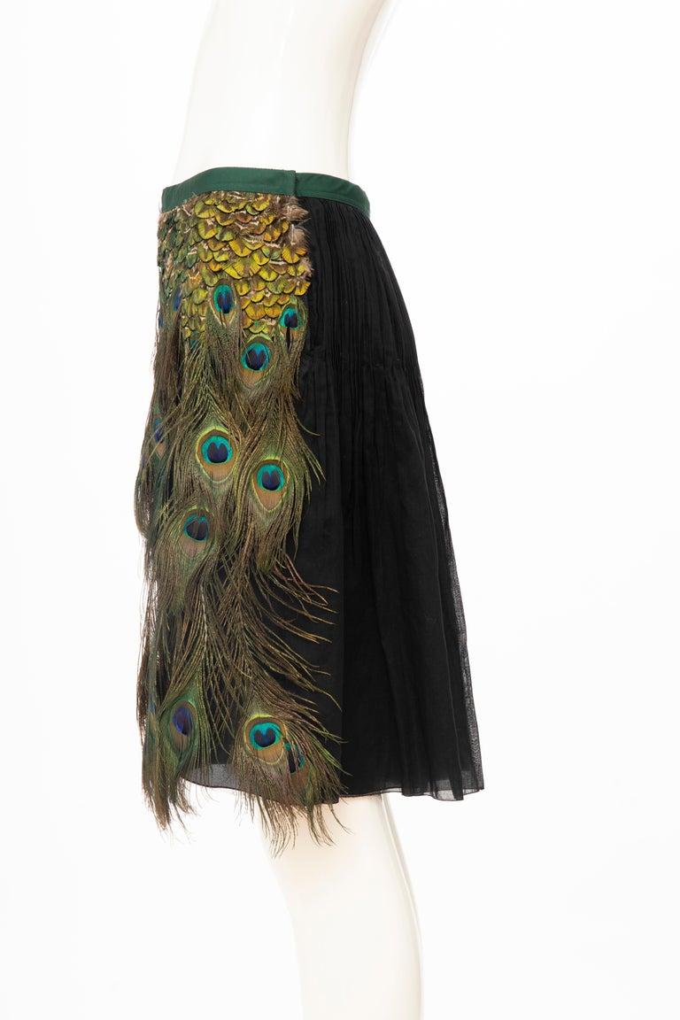 Prada Runway Black Cotton Pleated Skirt Appliquéd Peacock Feathers, Spring 2005 For Sale 6