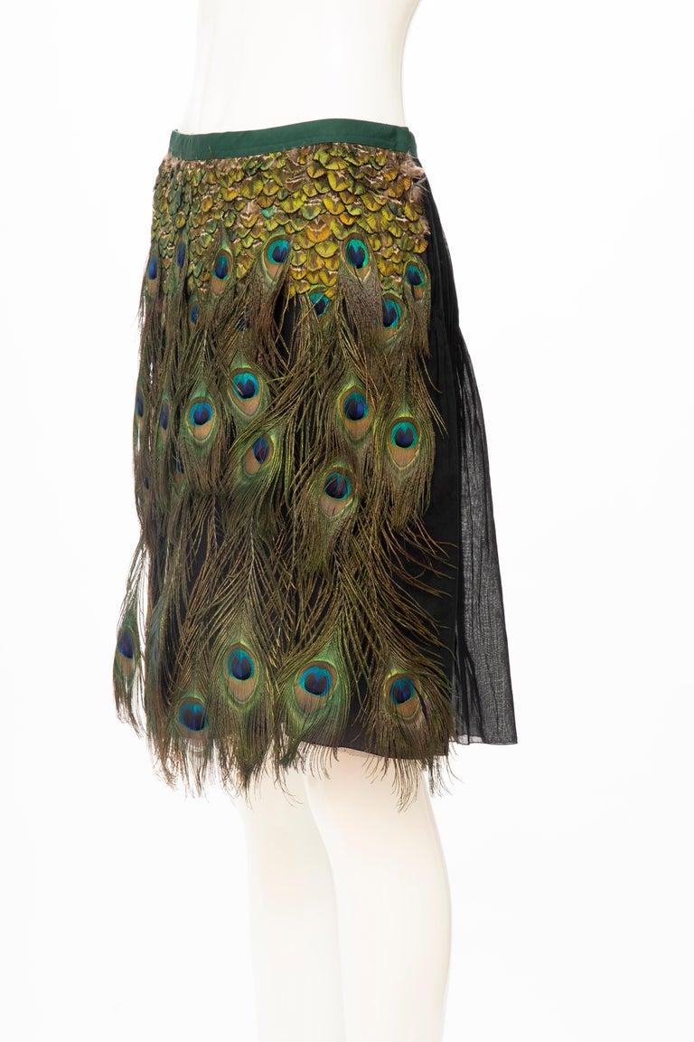 Prada Runway Black Cotton Pleated Skirt Appliquéd Peacock Feathers, Spring 2005 For Sale 7