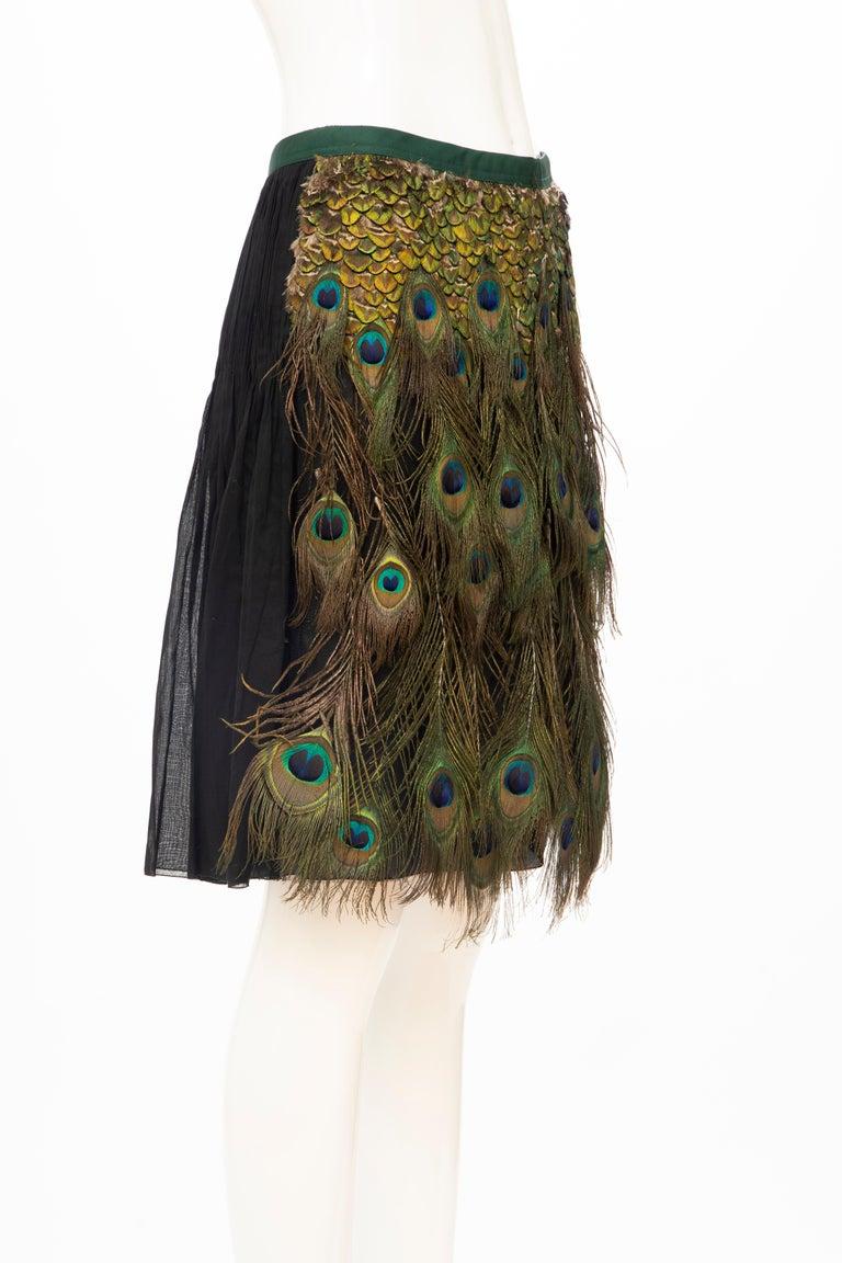 Women's Prada Runway Black Cotton Pleated Skirt Appliquéd Peacock Feathers, Spring 2005 For Sale