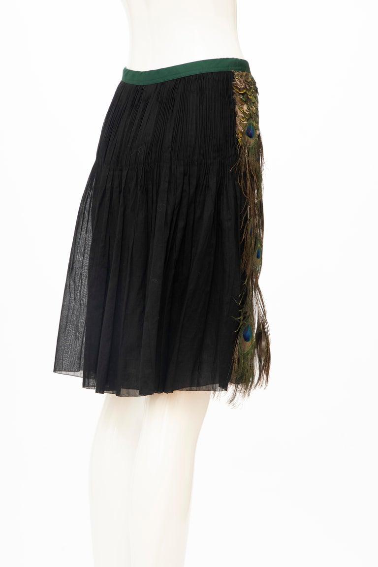 Prada Runway Black Cotton Pleated Skirt Appliquéd Peacock Feathers, Spring 2005 For Sale 2