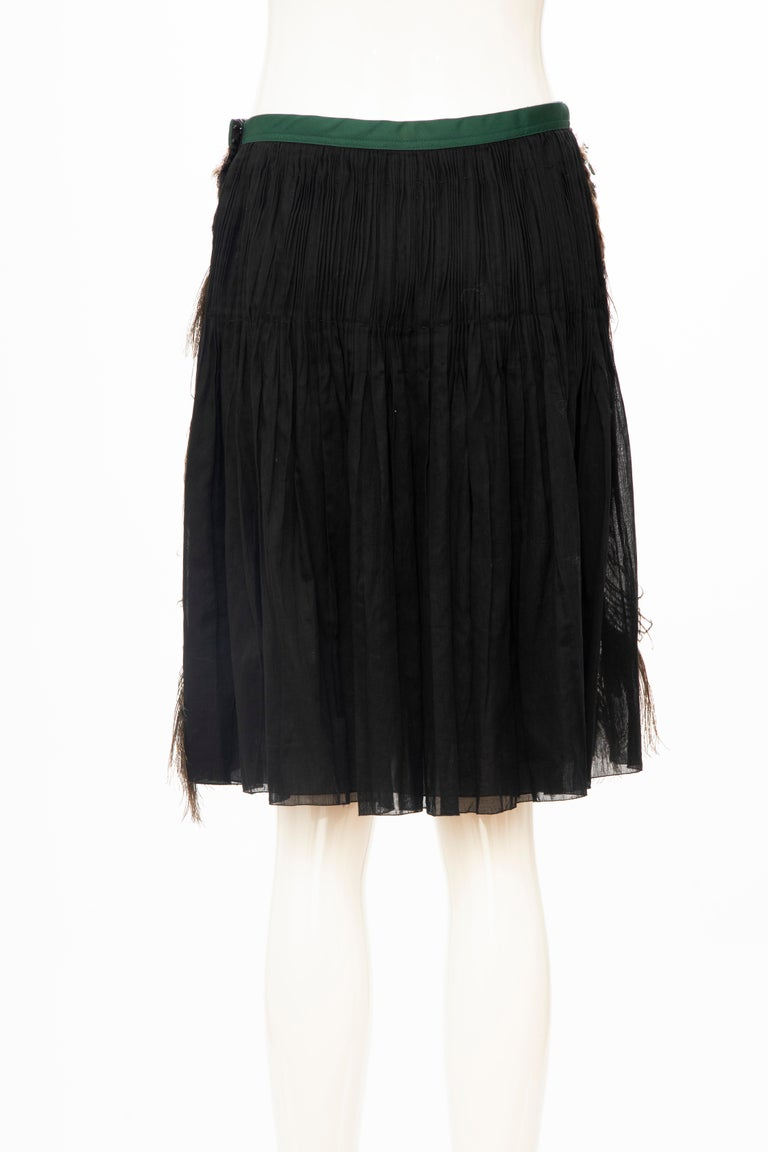 Prada Runway Black Cotton Pleated Skirt Appliquéd Peacock Feathers, Spring 2005 For Sale 3