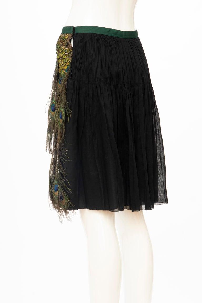 Prada Runway Black Cotton Pleated Skirt Appliquéd Peacock Feathers, Spring 2005 For Sale 4