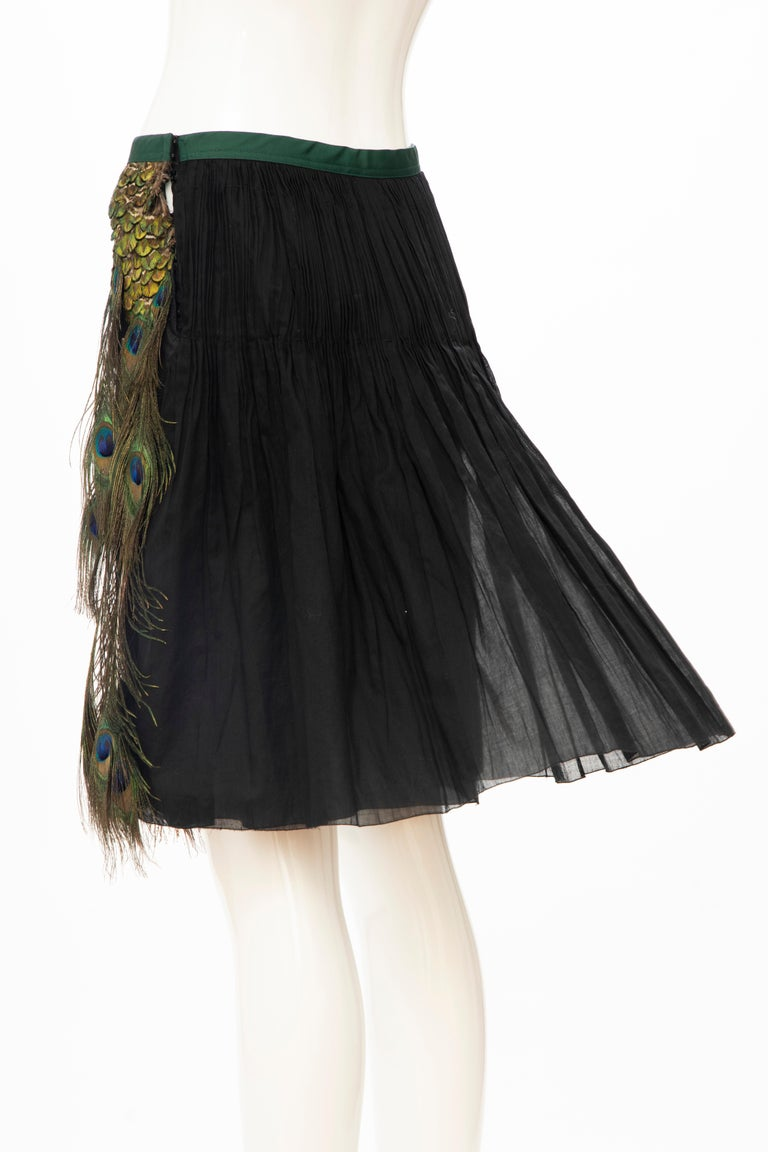 Prada Runway Black Cotton Pleated Skirt Appliquéd Peacock Feathers, Spring 2005 For Sale 5