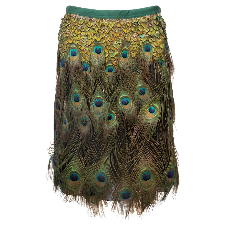 Prada Runway Black Cotton Pleated Skirt Appliquéd Peacock Feathers, Spring 2005 For Sale