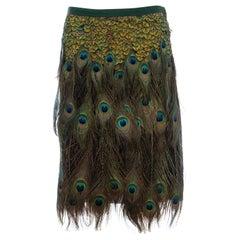 Prada Runway Black Cotton Pleated Skirt Appliquéd Peacock Feathers, Spring 2005