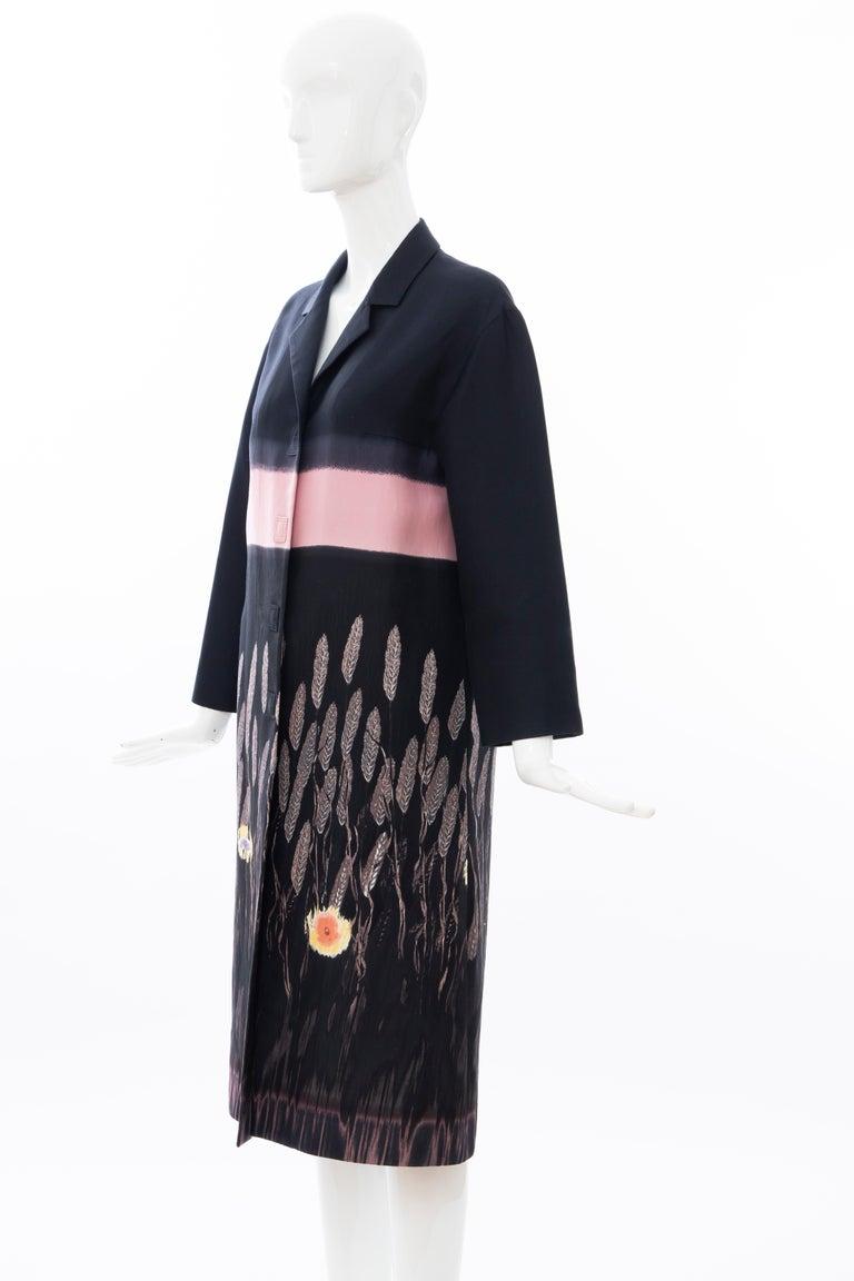 Prada Runway Black Silk Cotton Printed Snap Front Lightweight Coat, Spring 1998 For Sale 6
