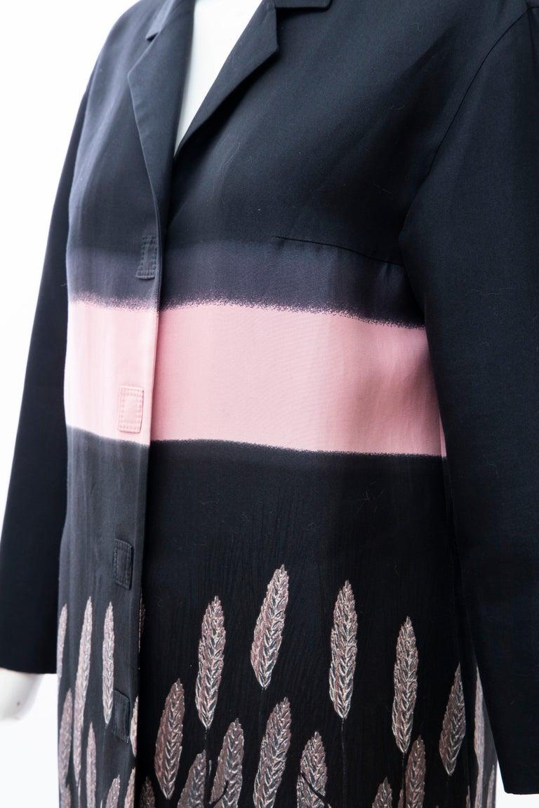 Prada Runway Black Silk Cotton Printed Snap Front Lightweight Coat, Spring 1998 For Sale 7