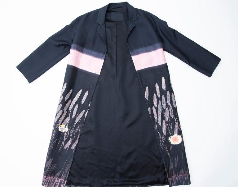 Prada Runway Black Silk Cotton Printed Snap Front Lightweight Coat, Spring 1998 For Sale 9