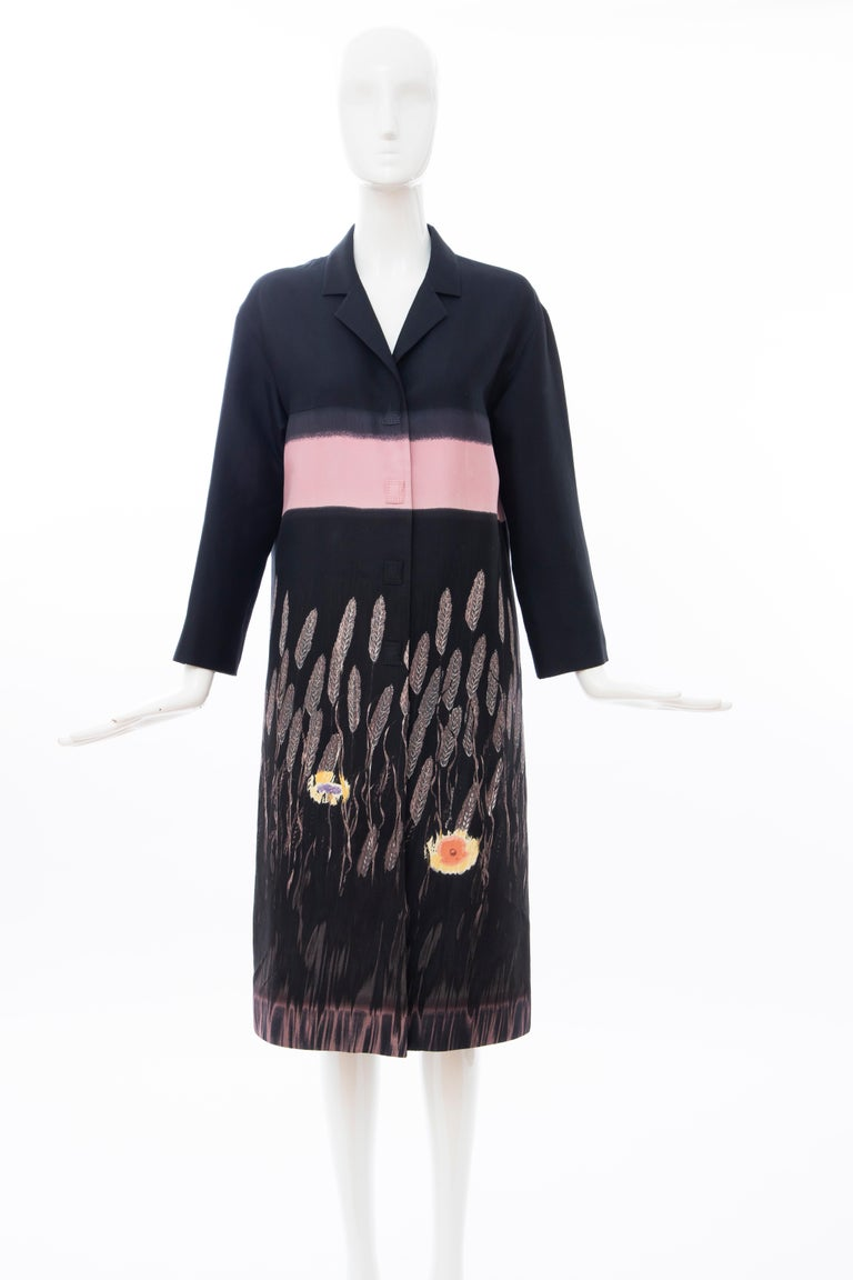 Prada,Runway Spring 1998, black & pink printed lightweight coat, 3/4 length sleeve, snap front, two front pockets and fully lined.  IT. 44, US. 8   Bust: 38, Waist: 38, Hips: 42, Shoulder: 18.5, Sleeve: 19, Length: 44   Fabric Content: 85% Cotton,
