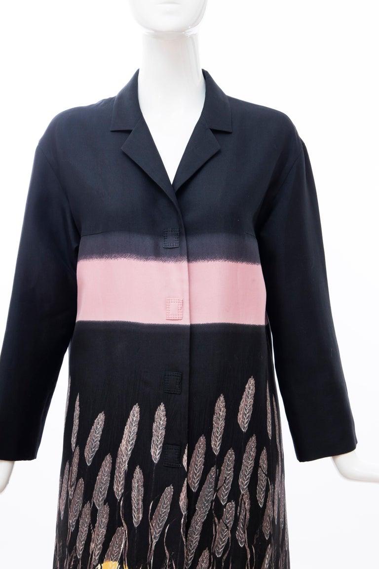 Prada Runway Black Silk Cotton Printed Snap Front Lightweight Coat, Spring 1998 In Excellent Condition For Sale In Cincinnati, OH