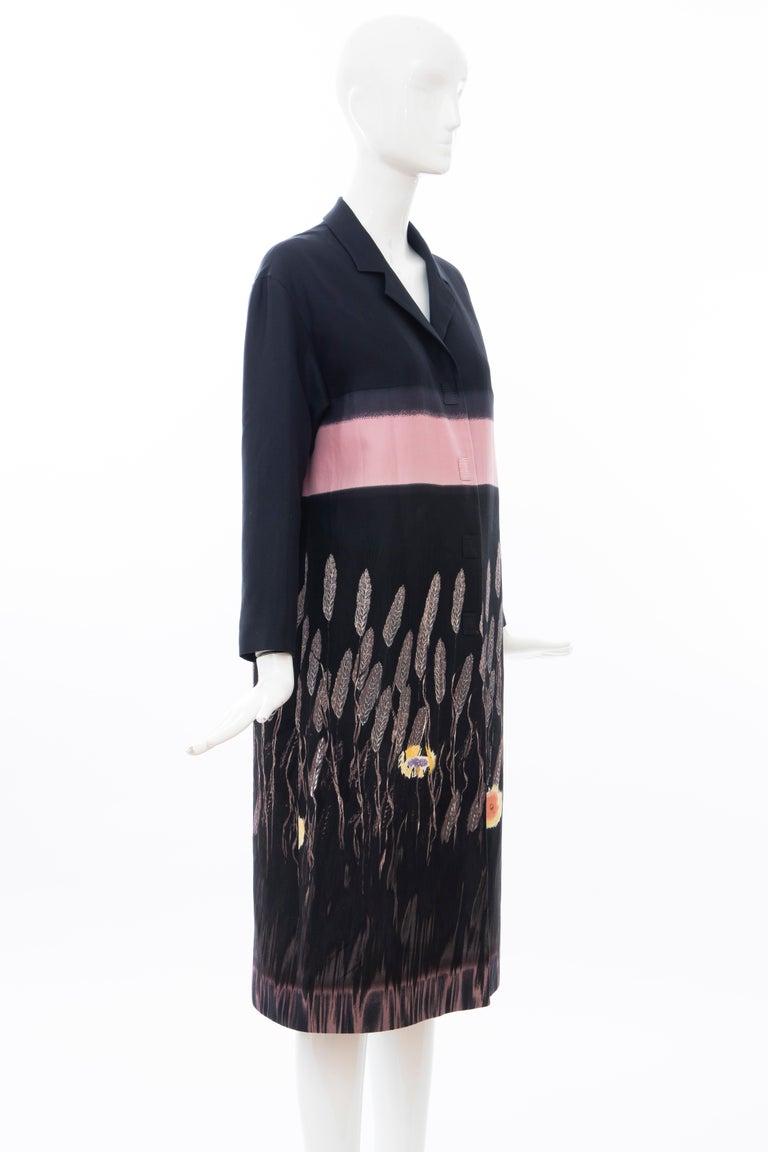 Women's Prada Runway Black Silk Cotton Printed Snap Front Lightweight Coat, Spring 1998 For Sale