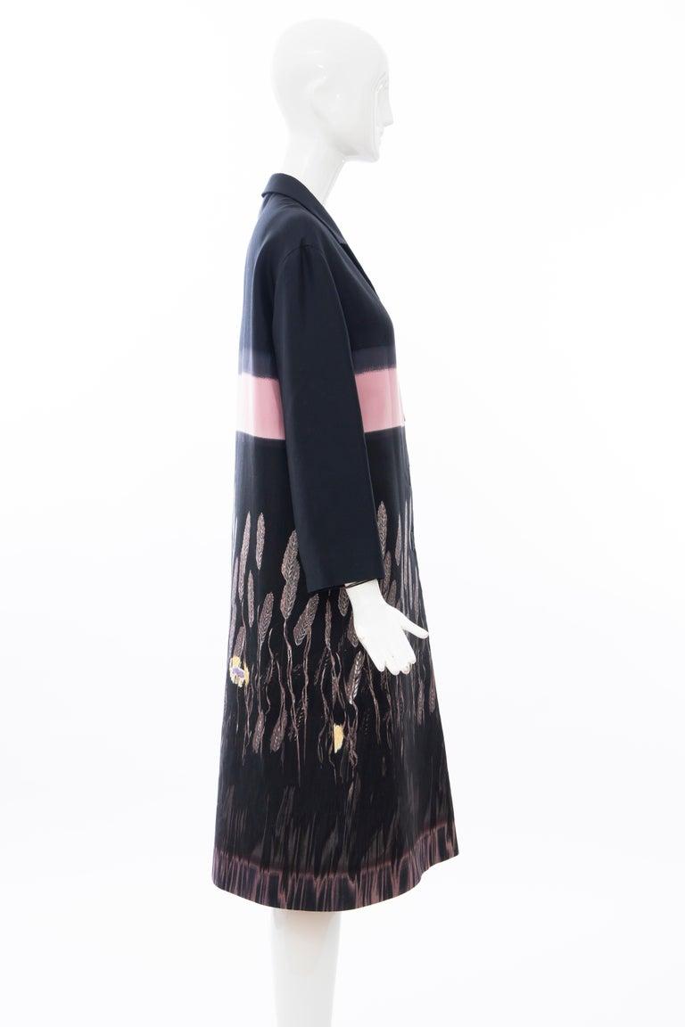 Prada Runway Black Silk Cotton Printed Snap Front Lightweight Coat, Spring 1998 For Sale 1