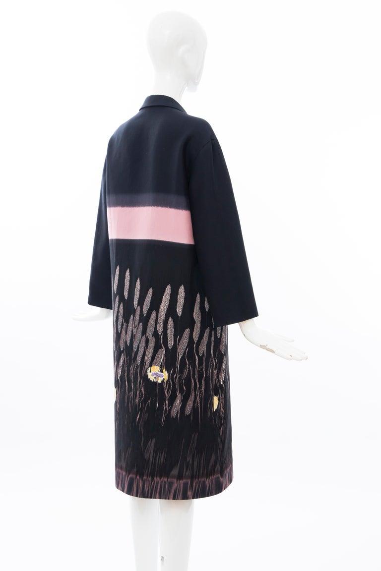 Prada Runway Black Silk Cotton Printed Snap Front Lightweight Coat, Spring 1998 For Sale 2