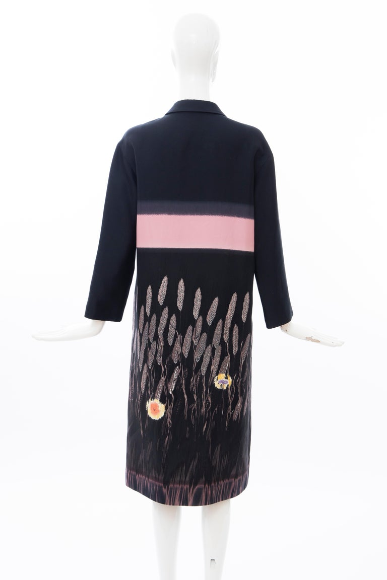 Prada Runway Black Silk Cotton Printed Snap Front Lightweight Coat, Spring 1998 For Sale 3