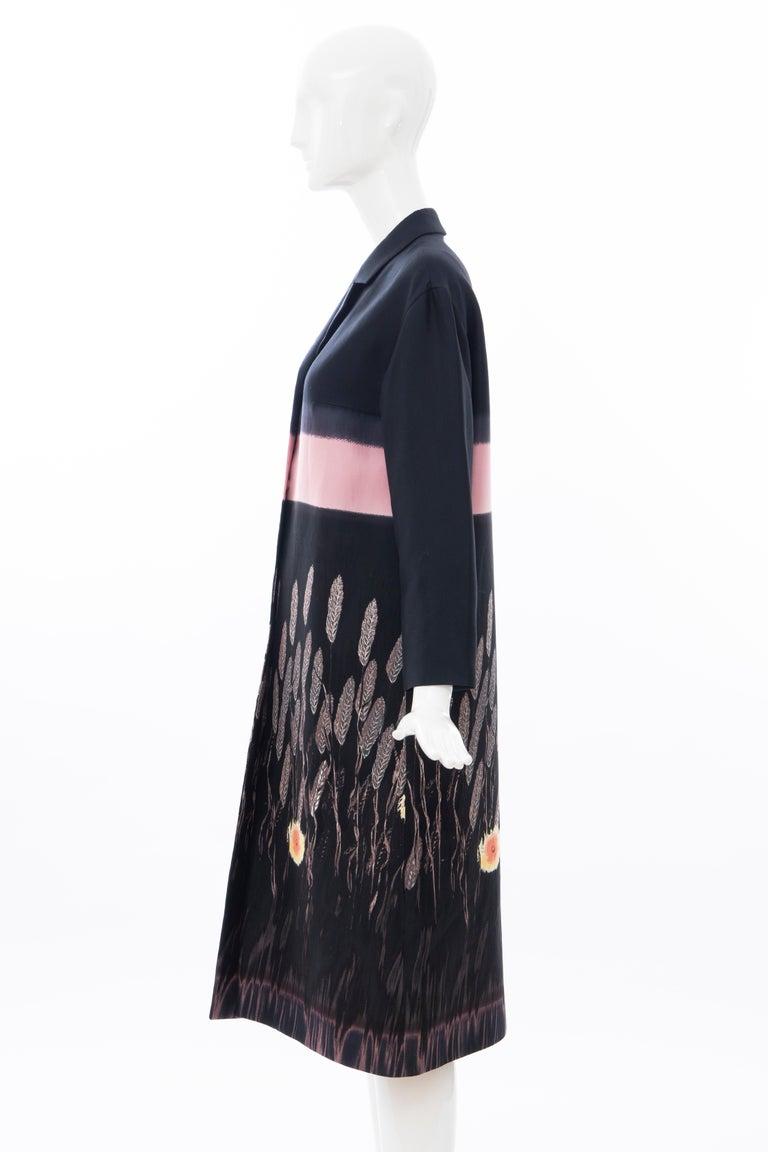 Prada Runway Black Silk Cotton Printed Snap Front Lightweight Coat, Spring 1998 For Sale 5