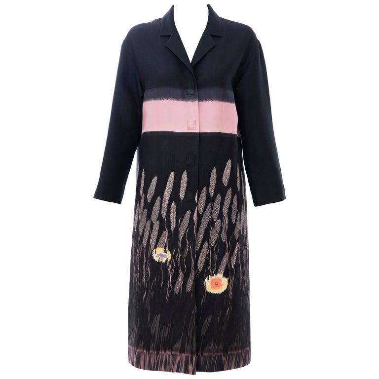 Prada Runway Black Silk Cotton Printed Snap Front Lightweight Coat, Spring 1998 For Sale
