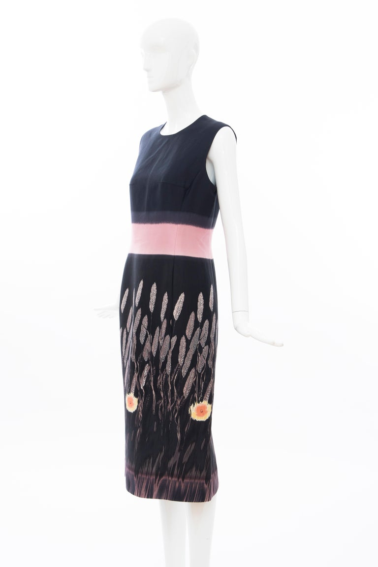Prada Runway Black Sleeveless Cotton Silk Printed Sheath Dress, Spring 1998 6