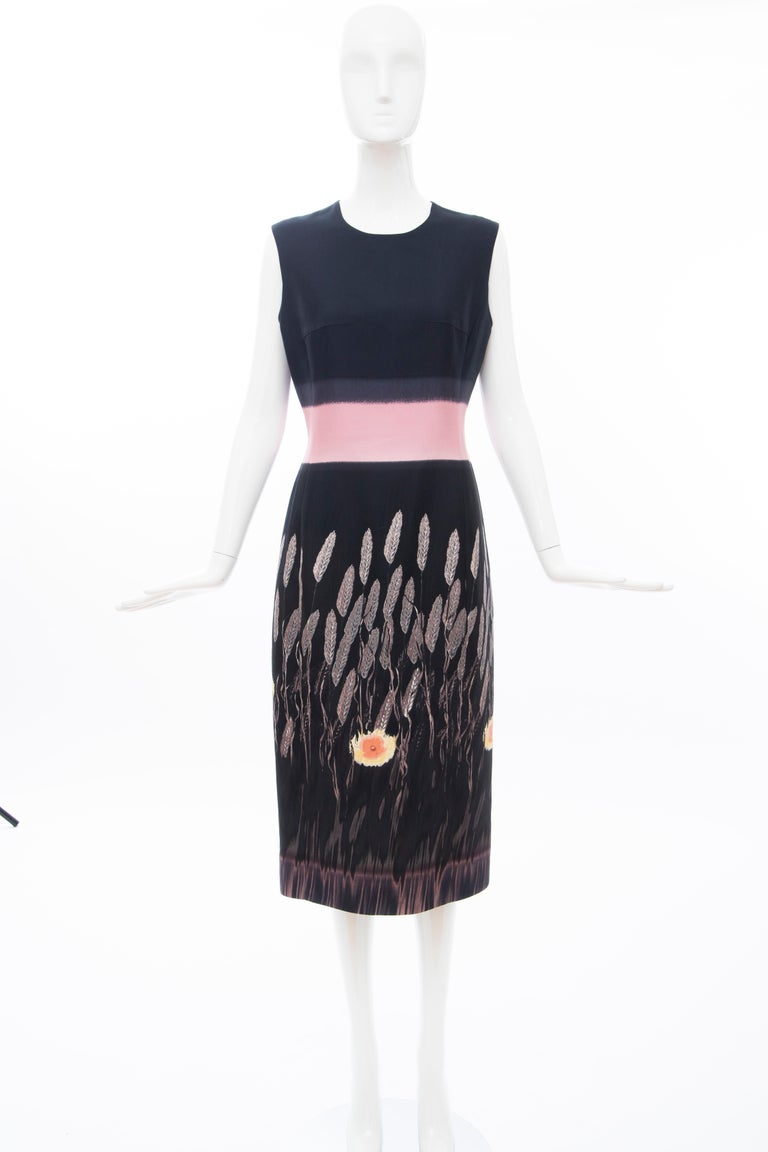 Prada, Runway, Spring 1998, black & pink sleeveless cotton, silk, printed sheath dress with jewel neckline, back zip closure and fully lined.  No Size Label  Bust: 34, Waist: 31, Hips: 38, Shoulder: 15, Length: 45    85% Cotton, 15% Silk; Lining 65%