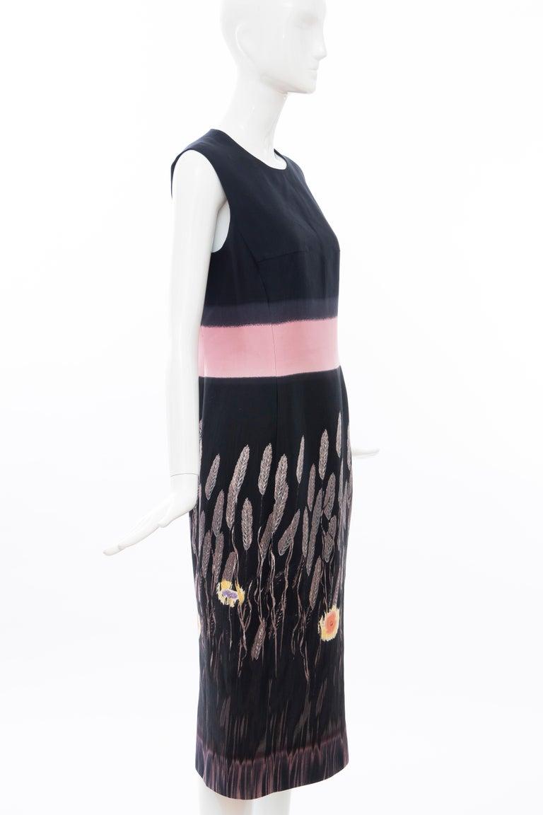 Women's Prada Runway Black Sleeveless Cotton Silk Printed Sheath Dress, Spring 1998