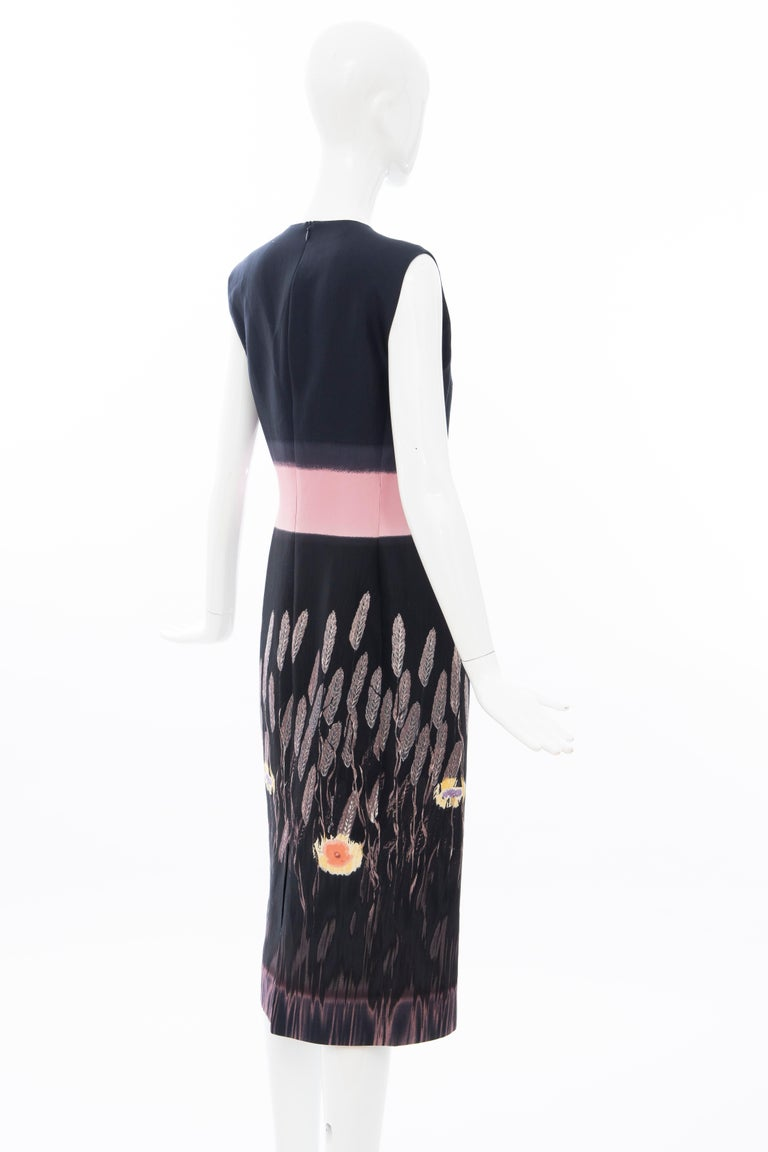 Prada Runway Black Sleeveless Cotton Silk Printed Sheath Dress, Spring 1998 2