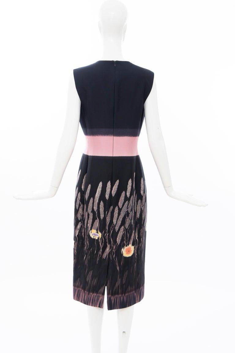 Prada Runway Black Sleeveless Cotton Silk Printed Sheath Dress, Spring 1998 3