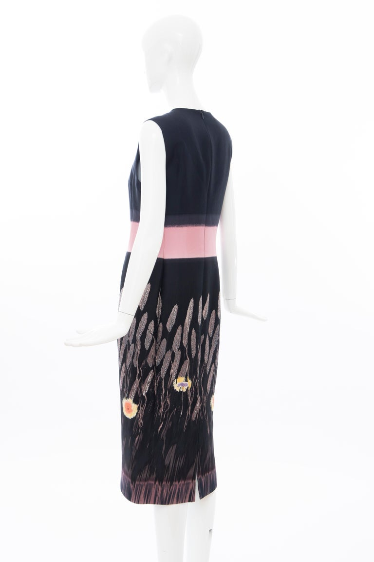 Prada Runway Black Sleeveless Cotton Silk Printed Sheath Dress, Spring 1998 4