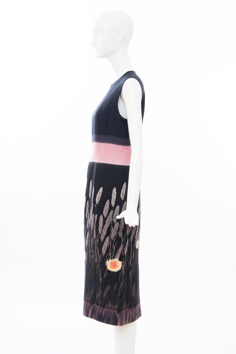 Prada Runway Black Sleeveless Cotton Silk Printed Sheath Dress, Spring 1998 5
