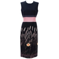 Prada Runway Black Sleeveless Cotton Silk Printed Sheath Dress, Spring 1998