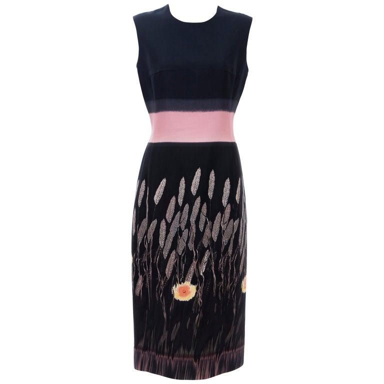 Prada Runway Black Sleeveless Cotton Silk Printed Sheath Dress, Spring 1998