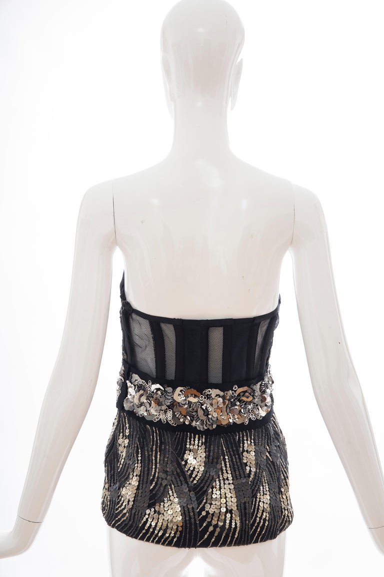Prada Runway Black Strapless Embroidered Sequin Top, Fall 2006 For Sale 2