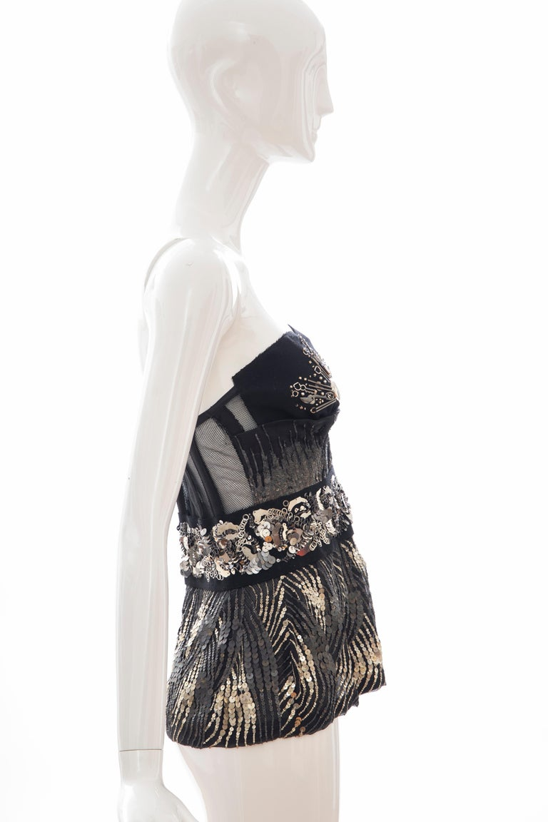 Prada Runway Black Strapless Embroidered Sequin Top, Fall 2006 For Sale 3