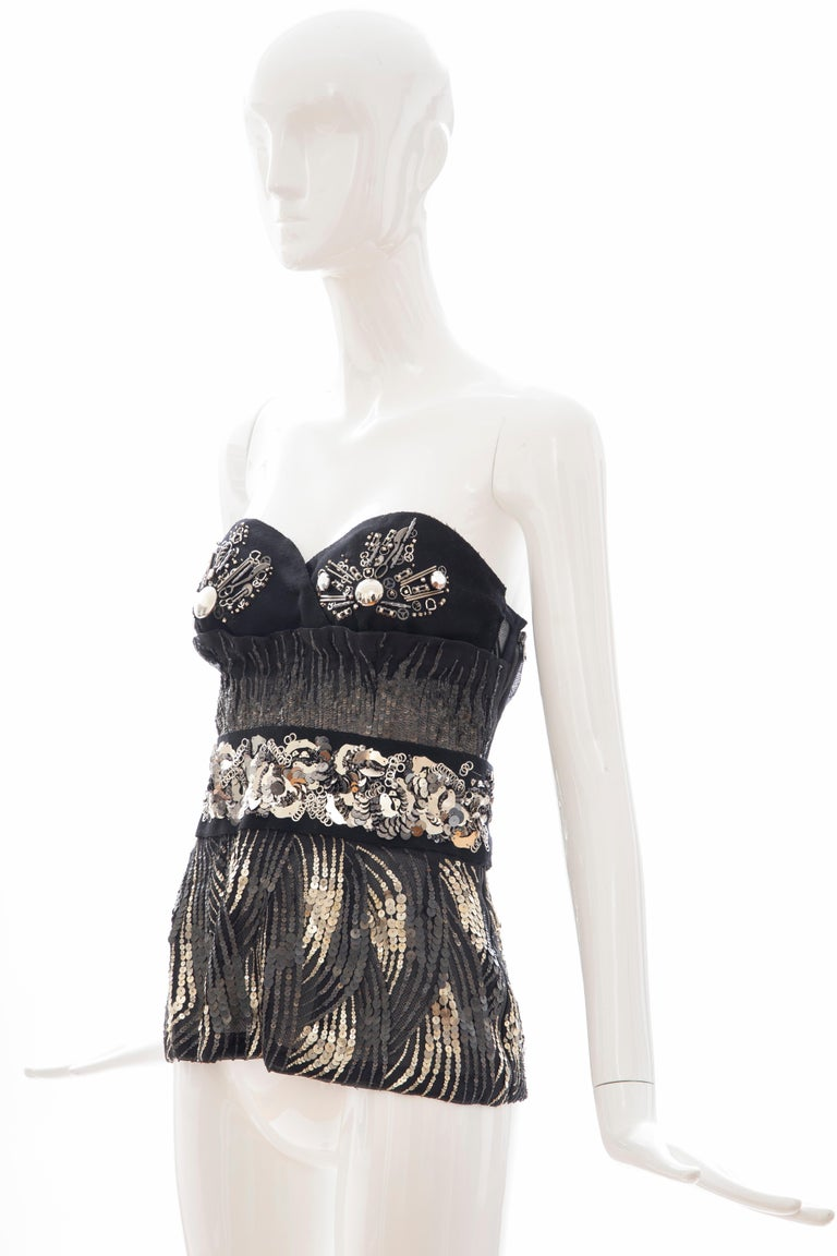 Prada Runway Black Strapless Embroidered Sequin Top, Fall 2006 For Sale 4
