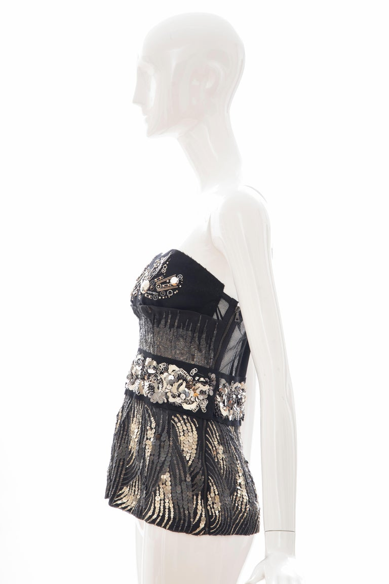 Prada Runway Black Strapless Embroidered Sequin Top, Fall 2006 For Sale 5