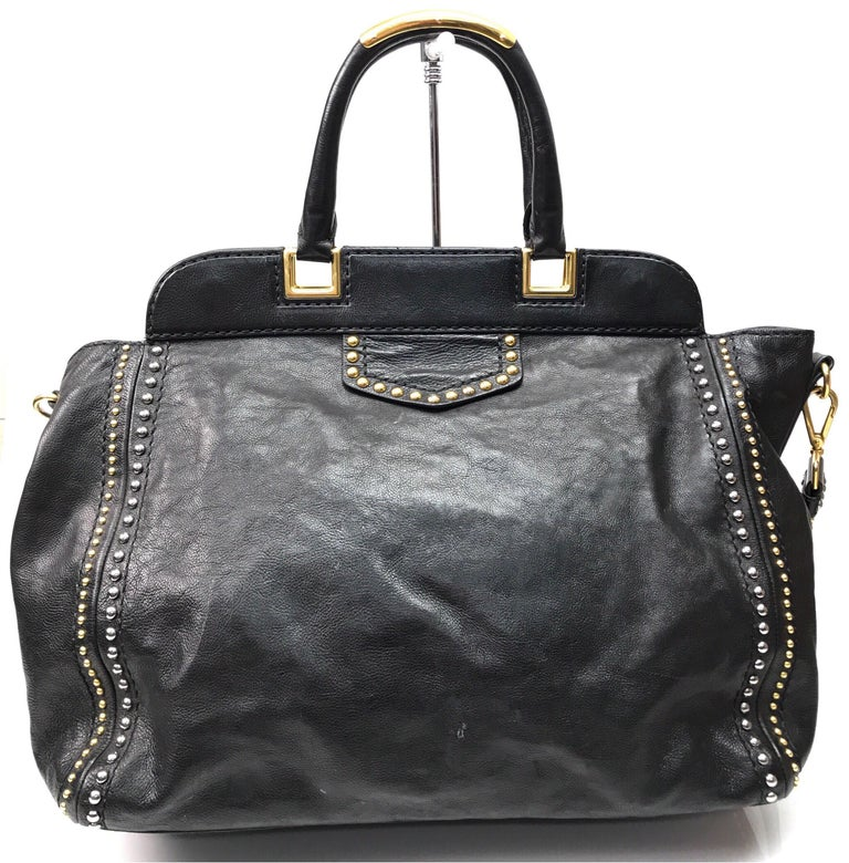PRADA Runway Black w/ Gold&Silver Studded Large Tote In Excellent Condition For Sale In Palm Beach, FL