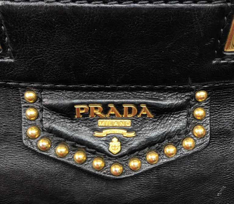 PRADA Runway Black w/ Gold&Silver Studded Large Tote For Sale 2