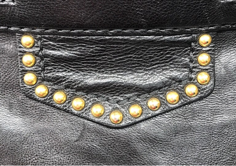 PRADA Runway Black w/ Gold&Silver Studded Large Tote For Sale 3
