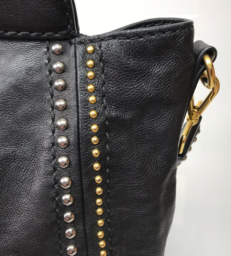 PRADA Runway Black w/ Gold&Silver Studded Large Tote For Sale 4
