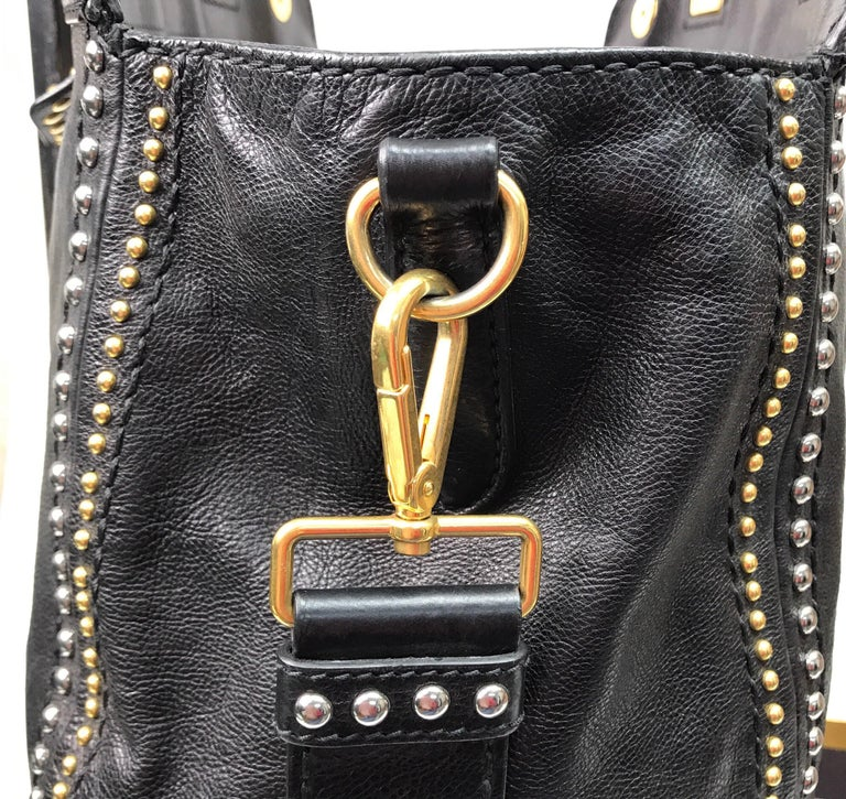 PRADA Runway Black w/ Gold&Silver Studded Large Tote For Sale 5
