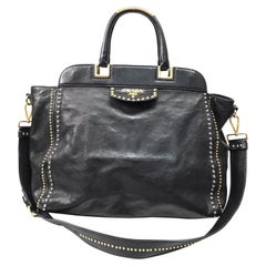 PRADA Runway Black w/ Gold&Silver Studded Large Tote