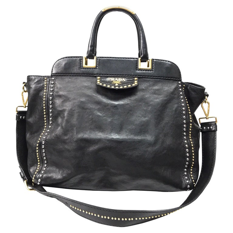 PRADA Runway Black w/ Gold&Silver Studded Large Tote For Sale