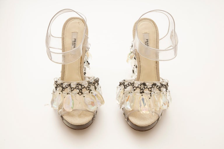 Prada Runway Clear PVC Lucite Faceted Crystal Platform Sandals, Spring 2010 In Good Condition In Cincinnati, OH
