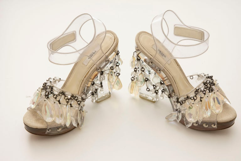 Women's Prada Runway Clear PVC Lucite Faceted Crystal Platform Sandals, Spring 2010