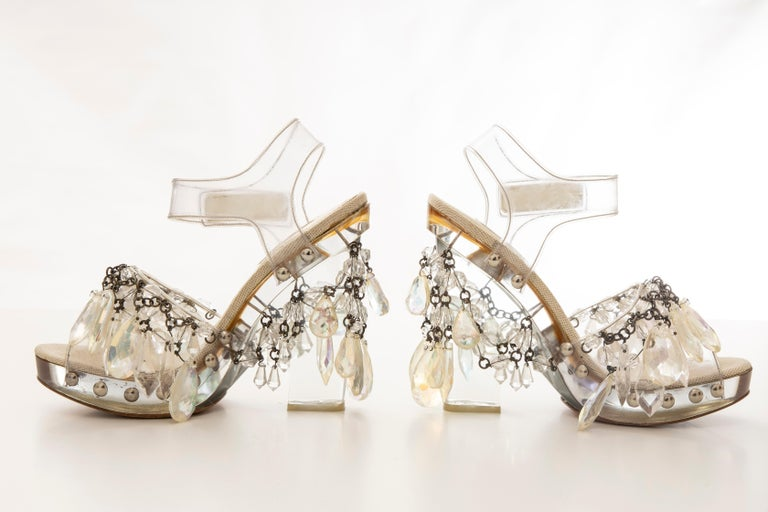 Prada Runway Clear PVC Lucite Faceted Crystal Platform Sandals, Spring 2010 1