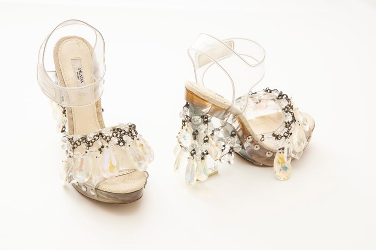 Prada Runway Clear PVC Lucite Faceted Crystal Platform Sandals, Spring 2010 3